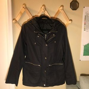 Topshop Black Anorak Coat